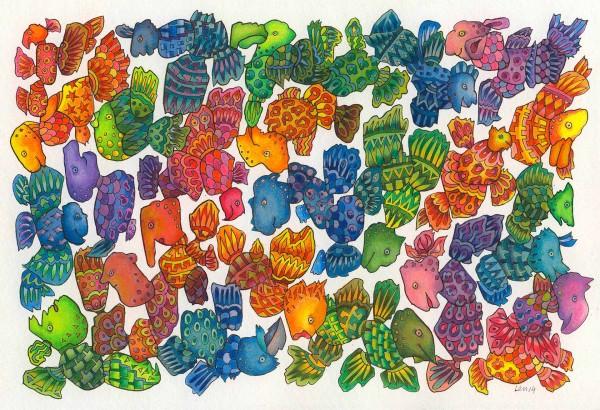 Fliegeheuer 1, Aquarell, Fineliner und Buntstifte auf Papier, 29 x 19,5 cm