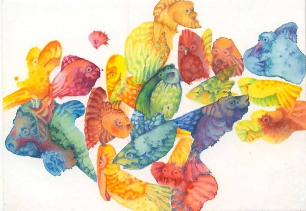 Klexwesen 1, Aquarell und Buntstifte auf Papier, 14,8 x 10,6 cm