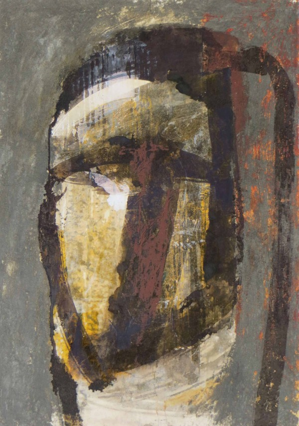 Kopf 1, Sand, Pigmente, Caparol, Tinte und Ölkreide auf Karton, 35 x 50 cm