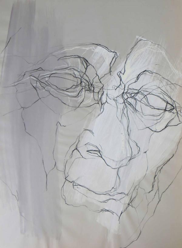 Kopfstudie 1, Gouache und Kreide auf Tonpapier, 50 x 70 cm