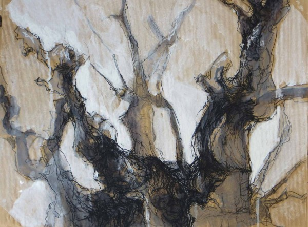 Verzweigung 1, Tinte, Gouache und Kreide auf Packpapier, 50  x 35 cm
